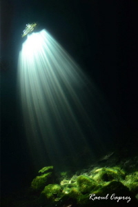 Light show in a cenote by Raoul Caprez 
